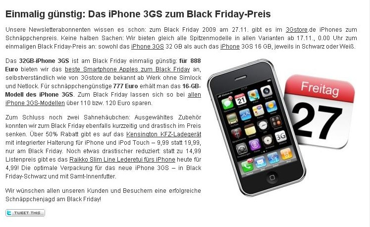 black friday iphone 3gs im 3gstore ab 777 sonstiges. Black Bedroom Furniture Sets. Home Design Ideas