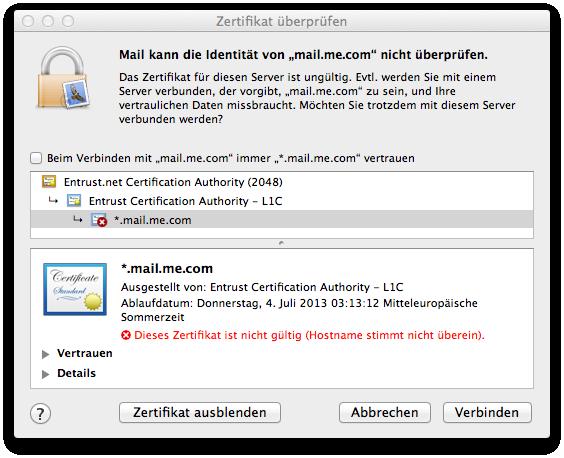 WTF?! Me.com Zertifikat.   Screenshots   Galerie   MacTechNews.de