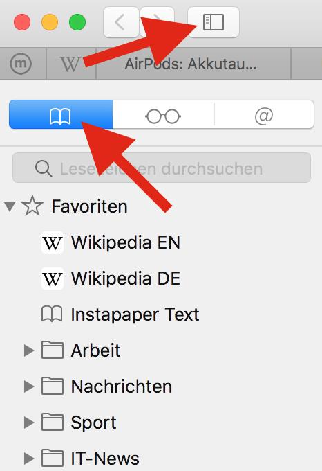 wo werden lesezeichen gespeichert mac