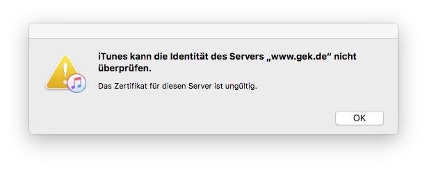 Fehlermeldung iTunes: \
