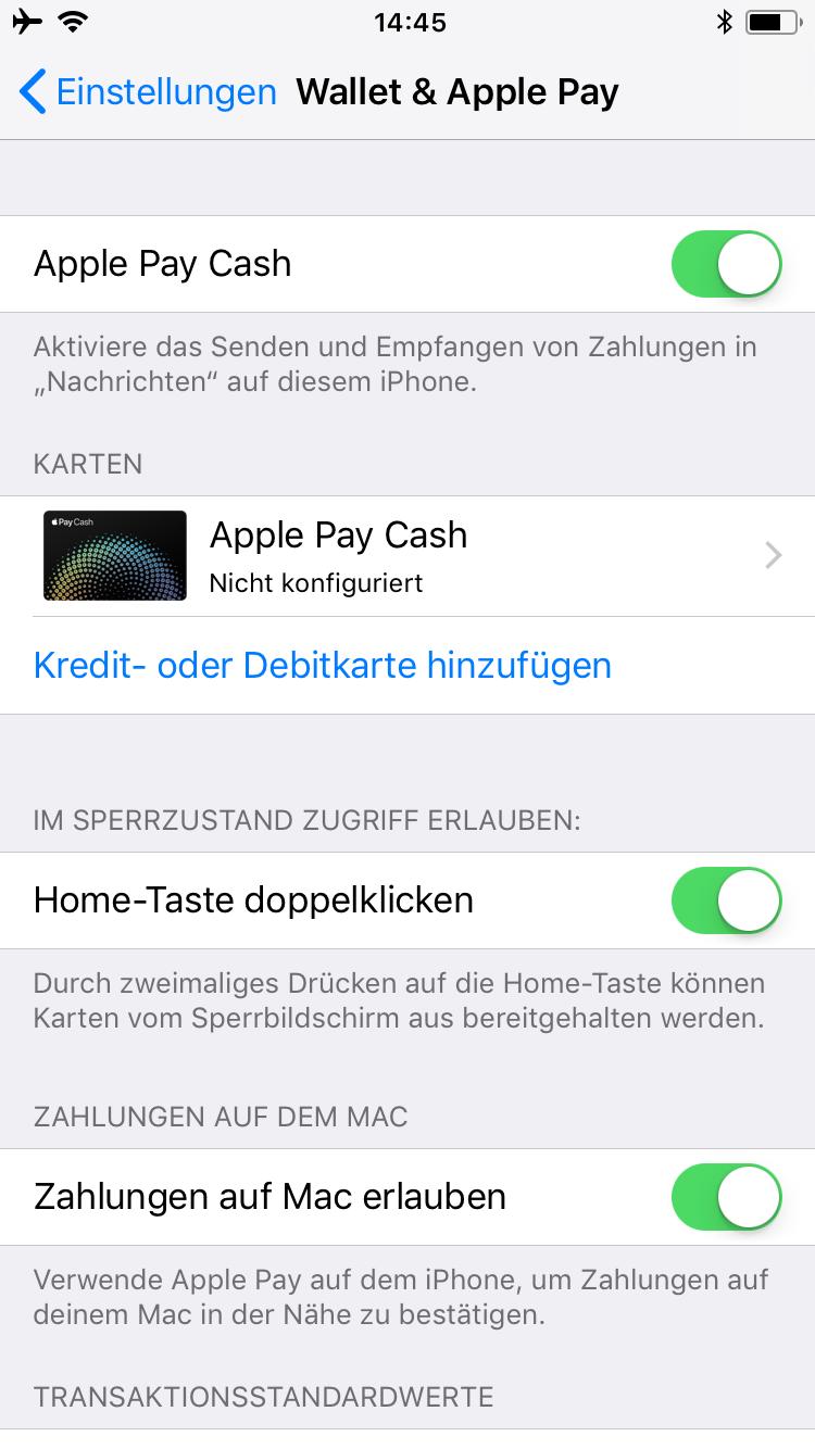 Apple Pay Cash Deutschland