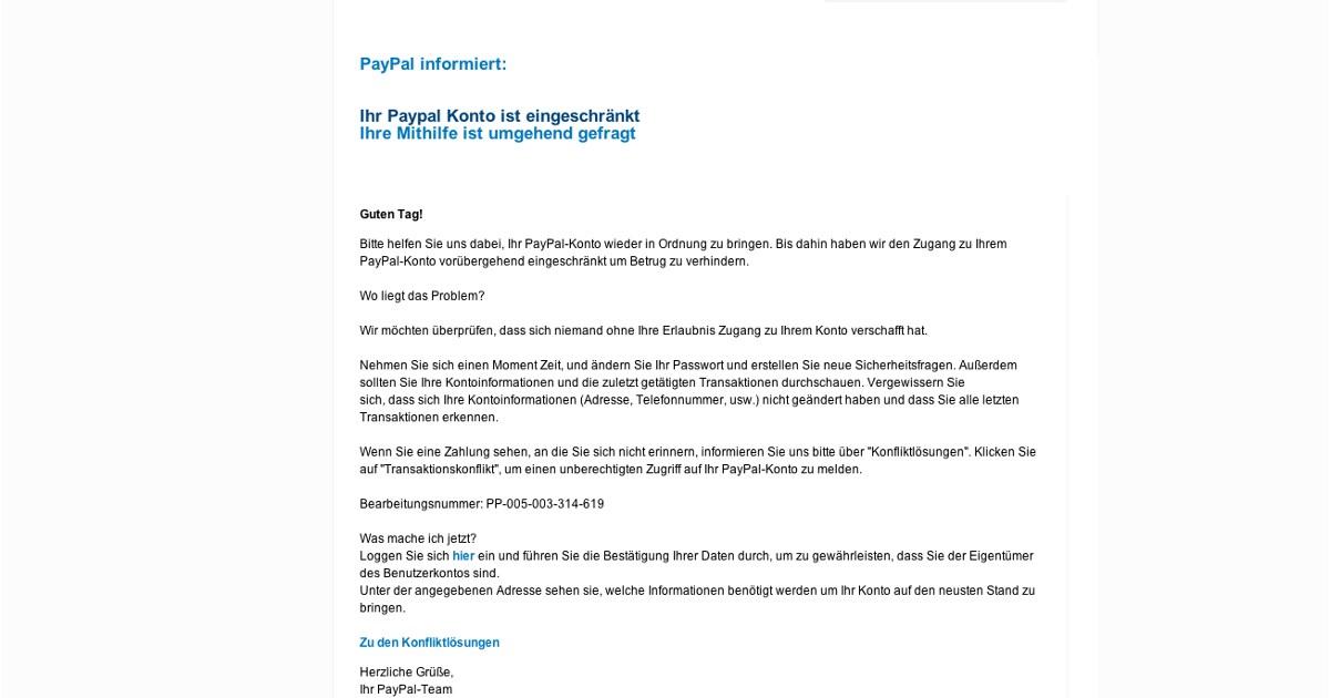 Spam Von Paypal