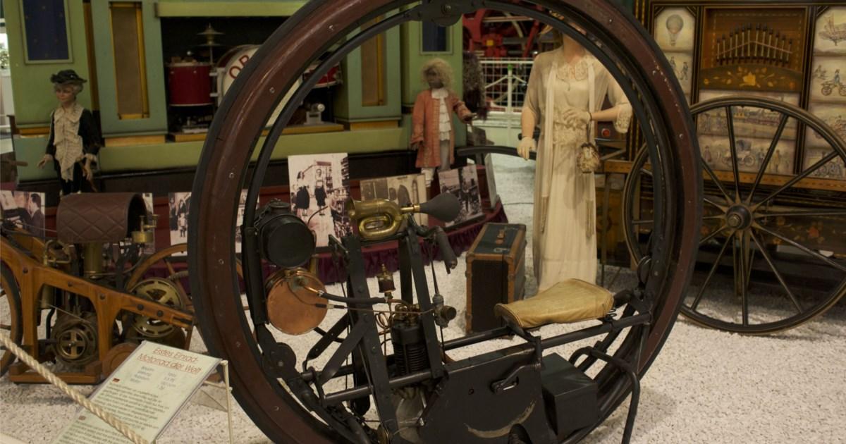 erstes einrad motorrad der welt steht im technikmuseum sinsheim kurioses galerie. Black Bedroom Furniture Sets. Home Design Ideas